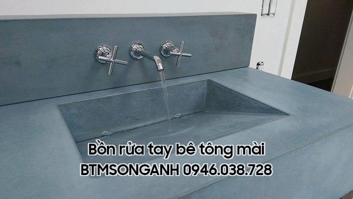 Bồn rửa tay bằng bê tông mài