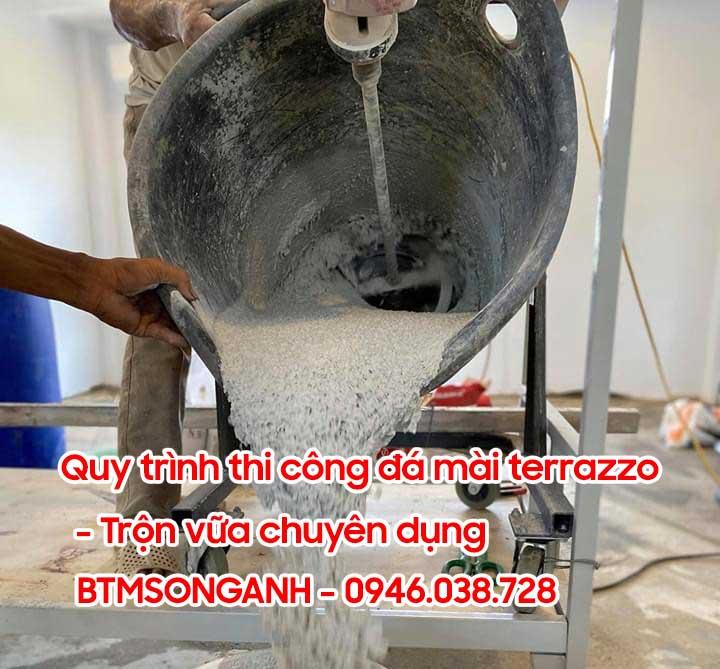 Quy trình thi công sàn đá mài terrazzo - trộn vữa