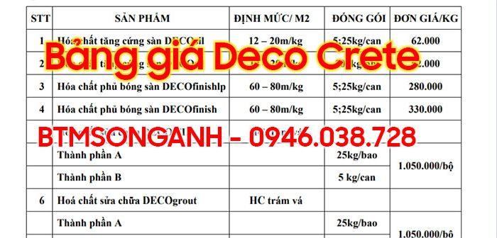 Bảng giá Deco Crete